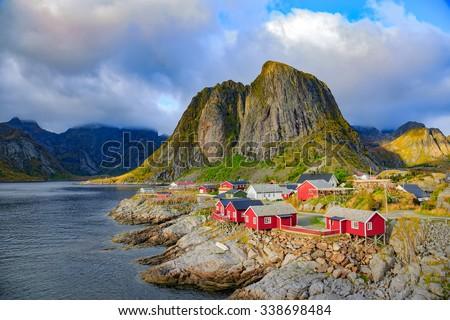 Fishing hut at Reine, Lofoten islands, Norway - stock photo