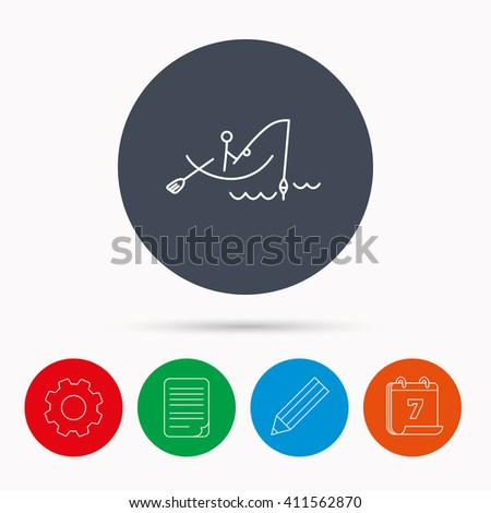 Fishing icon. Fisherman on boat in waves sign. Spinning sport symbol. Calendar, cogwheel, document file and pencil icons. - stock photo
