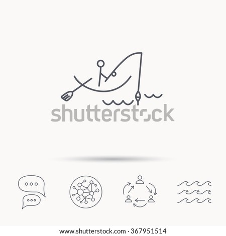 Fishing icon. Fisherman on boat in waves sign. Spinning sport symbol. Global connect network, ocean wave and chat dialog icons. Teamwork symbol. - stock photo