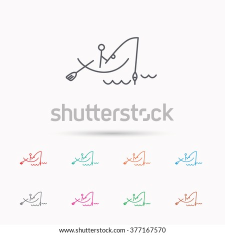 Fishing icon. Fisherman on boat in waves sign. Spinning sport symbol. Linear icons on white background. - stock photo
