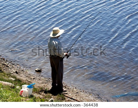 Fishing in the big river - stock photo