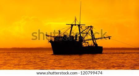 Fishing in the Caribbean - Fishing boat - trawler in Trinidad and Tobago - stock photo