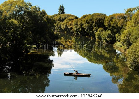 Fishing in the south island of New Zealand. - stock photo
