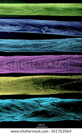 Fishing lines, different colors, diameters, and structures. Scanning electron microscopy. - stock photo