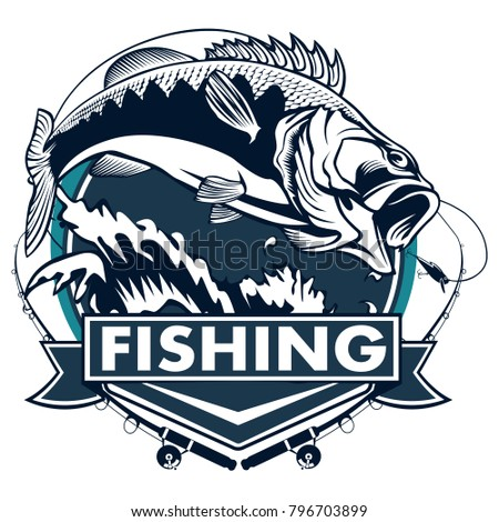 bass fishing logos  Fishing Logo Bass Fish Rod Club Stock Illustration 796703899 ...