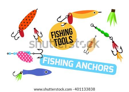 Fishing lure set. Fishing tools illustration. Fishing hook set. Fishing symbols. Fishing icon.  fishing tools shop. Fishing elements. Fishing icons. Fishing anchors - stock photo