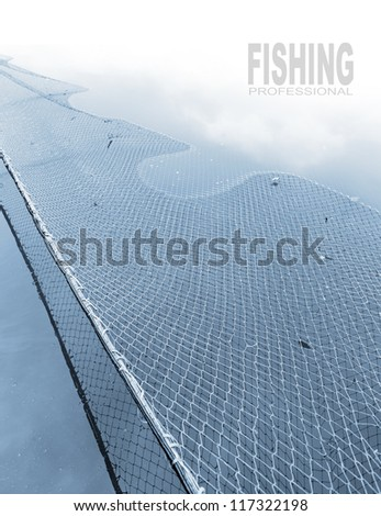 Fishing net and easy removable text. - stock photo