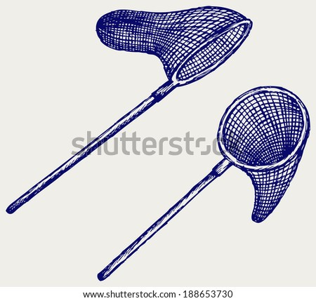Fishing net. Doodle style. Raster version - stock photo