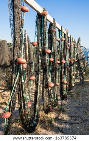Fishing net drying in the sun, La pointe courte, sete, herault, france - stock photo