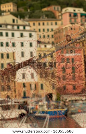 fishing net drying in the sun to dry - stock photo
