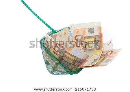 Fishing net filled with euro notes - stock photo