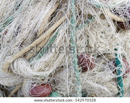 fishing net in the harbour of cetara