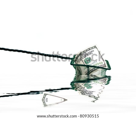fishing net with money and water,conceptual photo - stock photo
