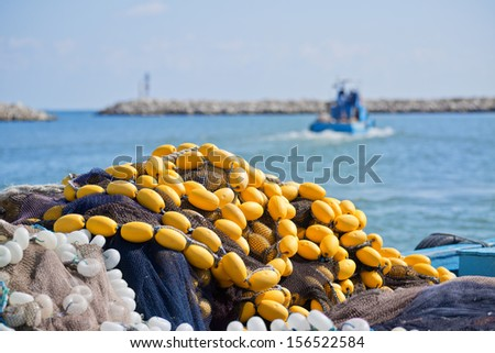 Fishing Nets and boat - stock photo