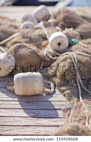 Fishing nets closeup - stock photo