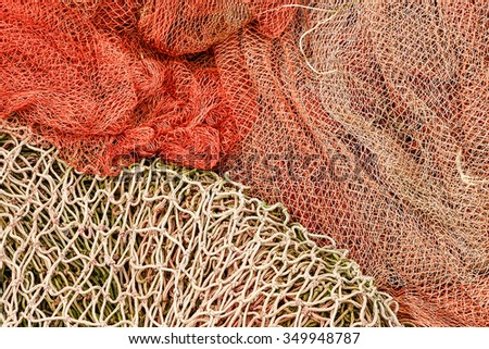 Fishing nets in Santona harbor, Cantabria, Spain. Horizontal image.