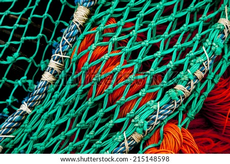 fishing nets on the quay in Port en Bessin, Normandy, France - stock photo