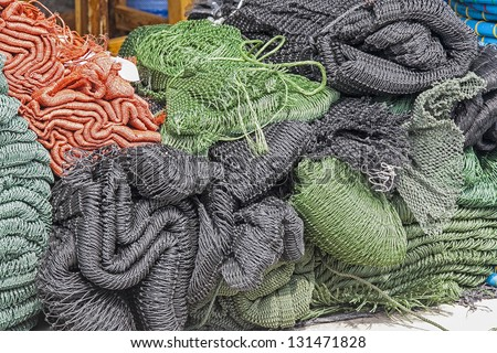 fishing nets on the ship - stock photo