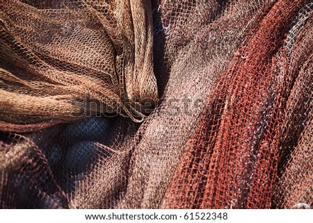 Fishing nets still life background pattern fishermen tackle - stock photo