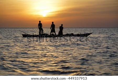 Fishing on sunset