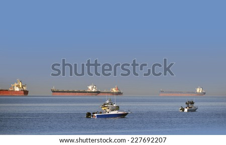Fishing on the sea, English Bay by Vancouver, British Columbia, Canada