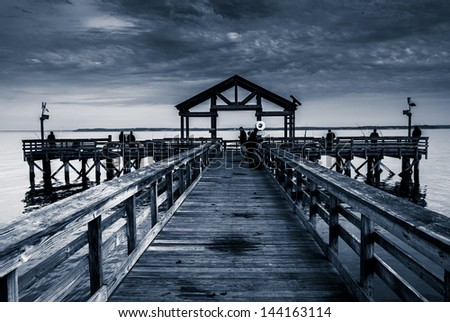 Fishing pier in the Potomac River, at Leesylvania State Park, Virginia. - stock photo