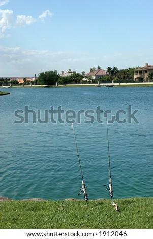 Fishing poles - stock photo