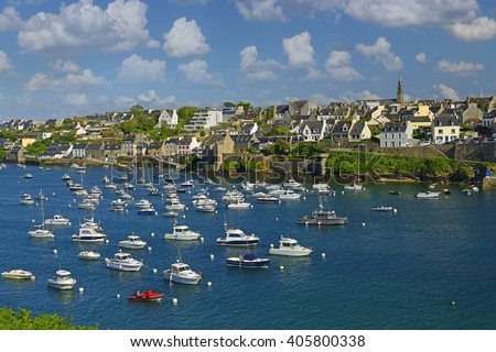 Fishing port Le Conquet in the northwest of Brittany in the Finistere department of north-western France - stock photo