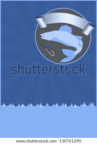 Fishing poster or flyer background with space - stock photo