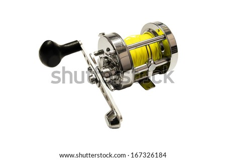 fishing reel on white background