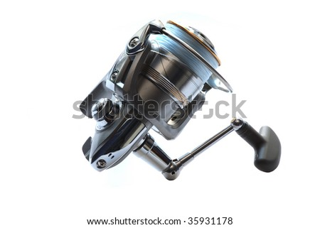 Fishing reel  on white background isolated