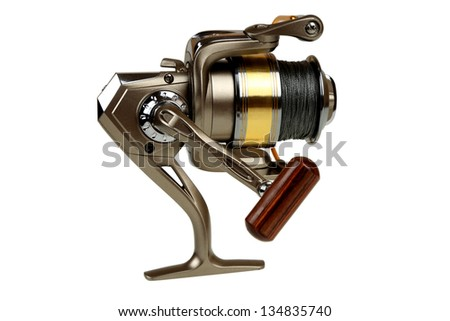 Fishing reel with thread close up isolated on white background - stock photo