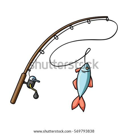 fishing rod fish icon black style stock illustration 571528648, Fishing Rod