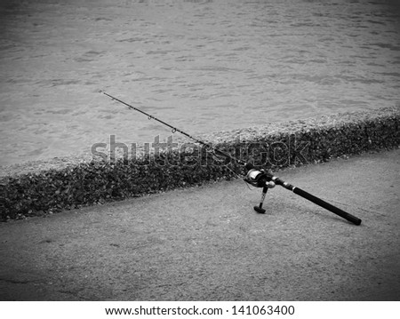 Fishing rod and reel for saltwater fishing.