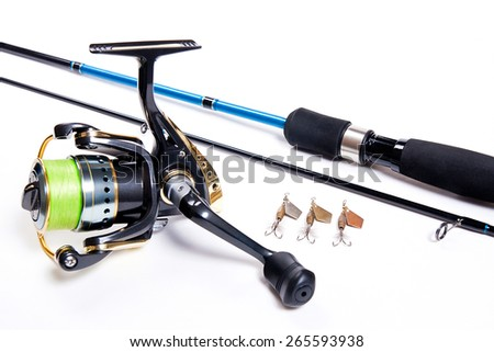 Fishing rod and reel with metal baits isolated on white background. - stock photo