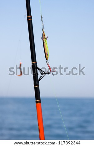Fishing rod and tackle - stock photo