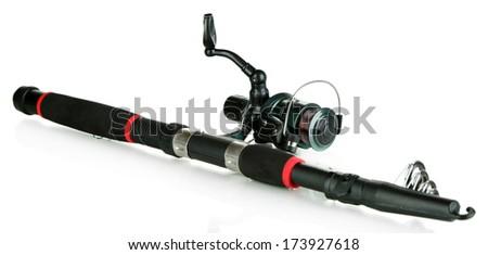 Fishing rod isolated on white - stock photo