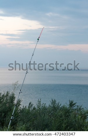 fishing rod on the shore of the lake Alakol
