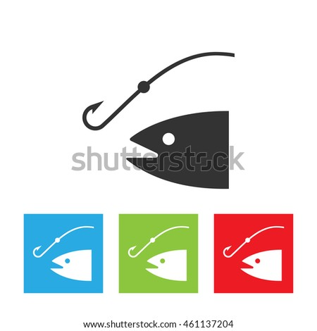 Fishing rod silhouette. concept of relaxation, tourism, ocean fishing, spinnerbait, spoon-bait, hunting. flat style trend modern logo design illustration. Fish and anchor logo.