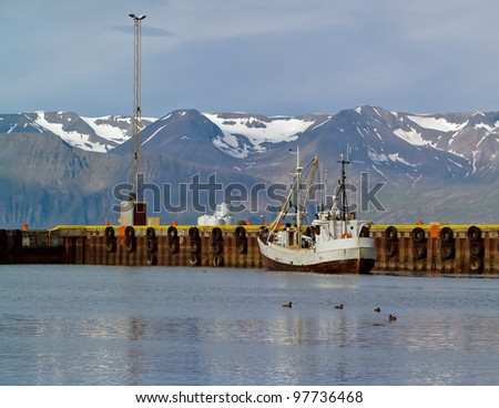 Fishing schooner in the port of Reykjavik city - Iceland - stock photo