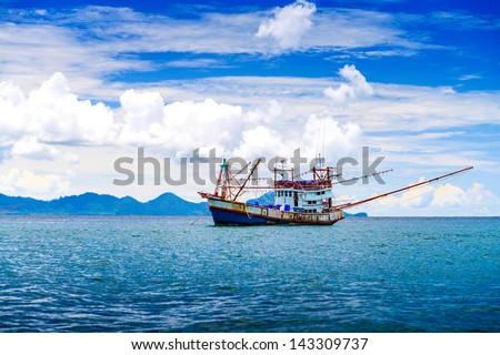 Fishing ship in Andaman sea Thailand