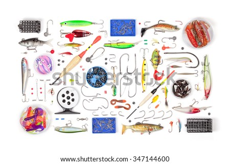 fishing tackle on white background - stock photo