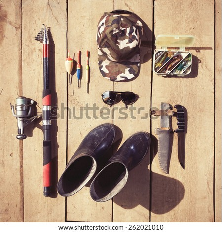 Fishing tackle. Top view photo of fisher equipment