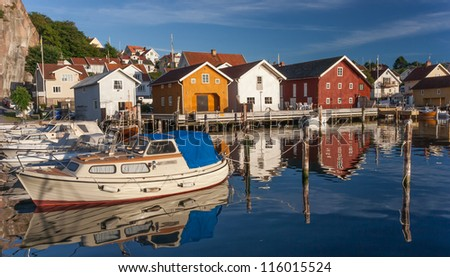 Fishing town at the Swedish west coast - stock photo
