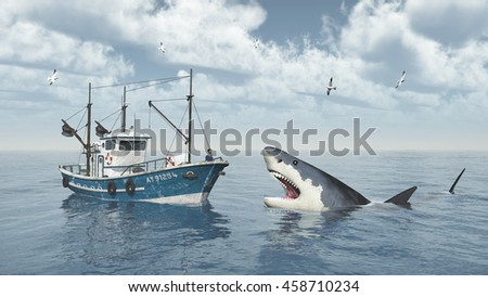 Fishing trawler and great white shark Computer generated 3D illustration
