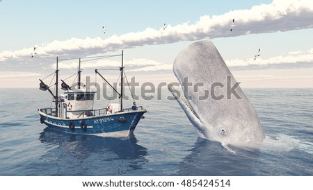 Fishing trawler and sperm whale Computer generated 3D illustration