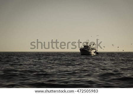 fishing vessel with seagulls