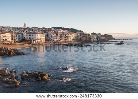 Fishing village and beaches, morning golden hour, Calella de Palafrugell, Gerona, Catalonia, Spain, Europe - stock photo