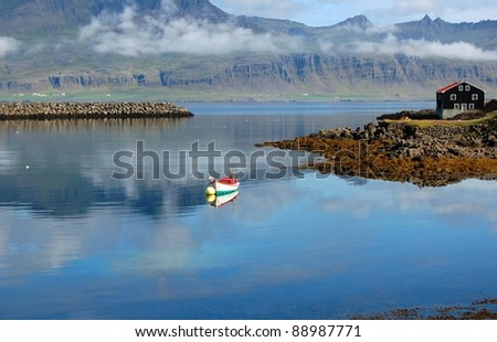 Fishing village, Djupivogur, Iceland This is a beautiful landscape of a traditional fishing village in Iceland called Djupivogur