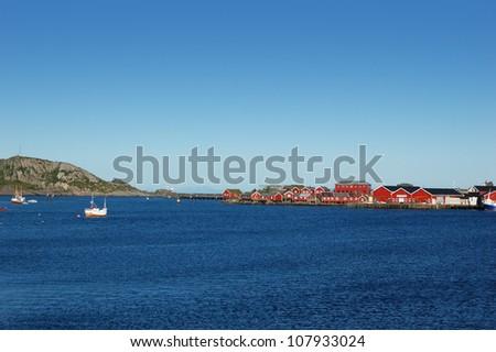 Fishing village in Lofoten islands, Norway - stock photo